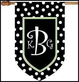 Monogrammed Black/White Dot Flag