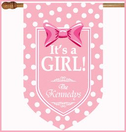 It's A Girl monogram Flag