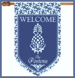 Welcome Pineapple And Blue monogram Flag