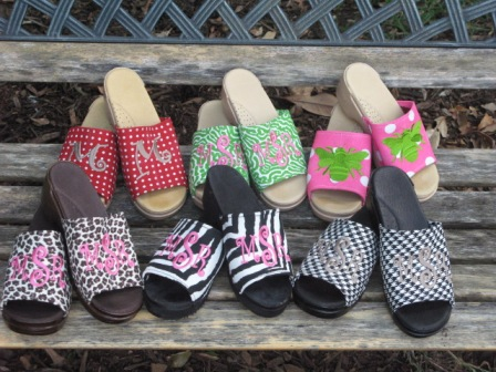 monogram clogs & sandals