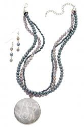 Grey Beaded Eng. Necklace Set