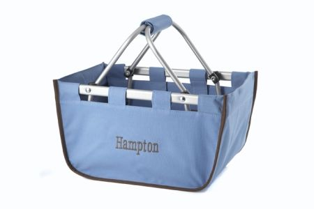 Blue with Brown Trim Mini Market Tote
