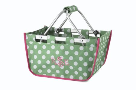 Green/White Dot Mini Market Tote
