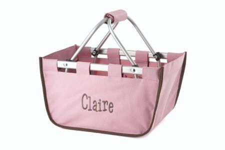 Pink with Brown Trim Mini Market Tote